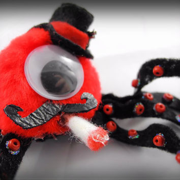 Hair Clip Whimsical Mobster Octopus, Fedora Hat, Pistol Gun, Leather Mustache, Cig, Pompom, Felt, Red and Black - OOAK Facinator hairclip