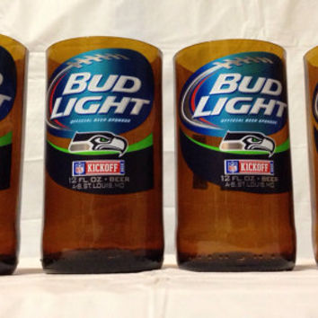 Bud Light Beer Bottle Tumbler Drinking Glasses. Recycled Glass Bottles. Green Glass Cups. Man Cave.