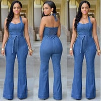 2016 American Apparel Rompers Womens Jumpsuit Sleeveless cowboy Backless Full Length Blue Sexy Rompers For Women