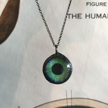Glass Painted Taxidermy Eye Pendant