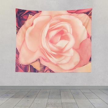 Pink Rose Abstract Design Tapestry Wall Hanging Meditation Yoga Grunge Hippie Wanderlust