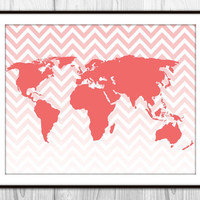 World Map Ombre Chevron Art Print - Modern Wall Art - Coral Orange & White World Map Silhouette - Home Dorm Decor