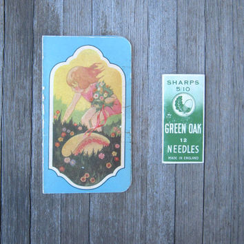 2 Antique Sewing Needle Books - Art Nouveau Graphic Needle Book for Fairfax Laundry & Green Oak Sheffield Steel Needles; Made in England