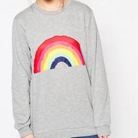 ASOS Sweatshirt With Rainbow Print at asos.com