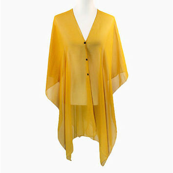 Gold Multi-Way Sheer Cover Up Poncho Scarf with Buttons