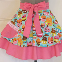 Sweet Treats Blue Cupcakes Half Apron Sexy by ApronsByVittoria