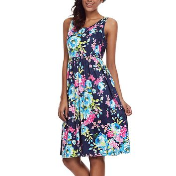 Fall in Love with Navy Floral Print Boho Dress