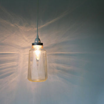 OCTAGON Jar Pendant Light - Upcycled Hanging Lighting Fixture Featuring An Antique Refrigerator Jug - OOAK BootsNGus Lamps