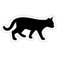 Sideview silhouette of a walking cat by Mhea