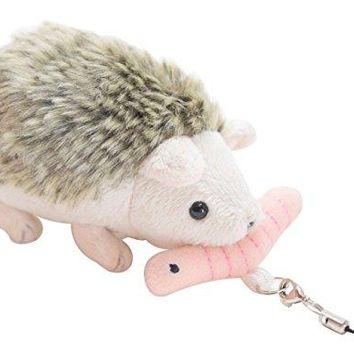 Adorable Mini Hedgehog Chasing Worm Plush Shaking Stuffed Animal with Cell Phone Clip and Loop