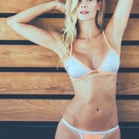 Sydney Triangle Bikini Set - Peach and Silver