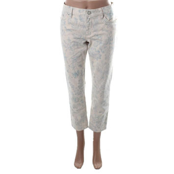 LRL Lauren Jeans Co. Womens Petites Denim Floral Print Ankle Jeans