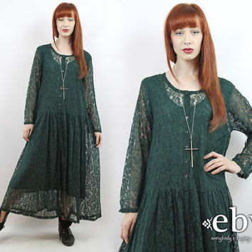 Vintage 90s Hunter Green Lace Maxi Dress L XL 1X 90s Maxi Dress 90s Lace Dress 90s Grunge Dress Plus Size Dress Plus Size Vintage Goth Dress
