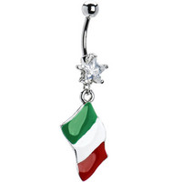 Italy Flag Dangle Belly Ring | Body Candy Body Jewelry