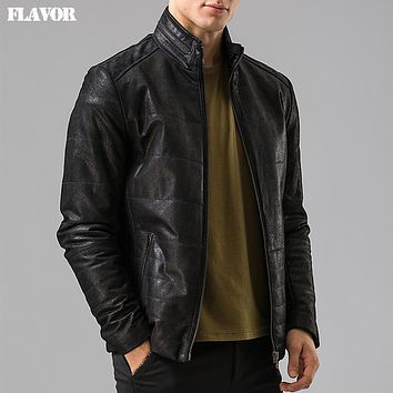 Men's real leather jacket motorcycle coat Genuine Leather jacket male coat bomber jackets