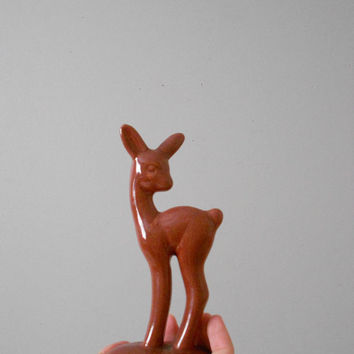 ceramic brown deer figurine / fawn, reindeer / minimalist