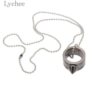 Lychee Punk Alloy Women Self-defense Ring Conical tip Geometric Steel Color Ring Safe Jewelry