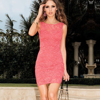 Pink Sleeveless Lace Mini Dress