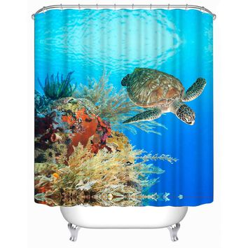 3D Underwater World Turtle Bath Curtain Polyester Waterproof Bath Shower Shade Hanging Bathroom Door Curtain Shower Shelter