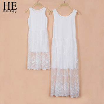 HE Hello Enjoy mother daughter dresses 2017 Family Matching Outfits Sleeveless long white lace dress family matching clothes