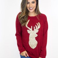 Red Gold Sequin Reindeer Top