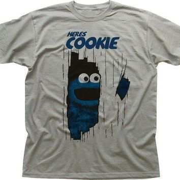 LMFON Fashion Funny Tops Tees here's Cookie Monster The Shining funny printed Black T-Shirt Men's Shirt