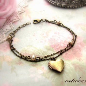 Heart Locket Bracelet Personalized Vintage Heart Bracelet Antique Bronze Locket Adjustable heart charm locket multi strand bracelet