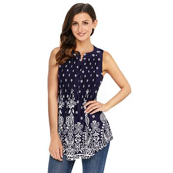 Z| Chicloth Navy Damask Print Ruched Tank Top