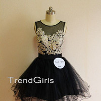 Black Short Lace Prom Dresses, Homecoming Dresses, Dress For Prom, Lace Dresses