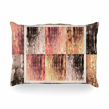 "Nina May ""Tavertina Earth"" Brown Coral Digital Oblong Pillow"