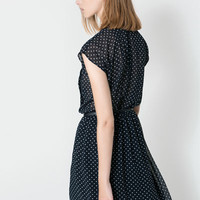 PRINTED POLKA-DOT DRESS WITH BELT