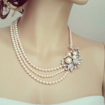 Shop Wedding Pearl Necklace With Brooch on Wanelo 250c010abf
