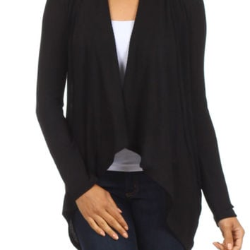Long Sleeve Open Front Cardigan W/ Round Hem
