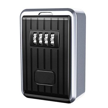 Lock Box 4 Digit Combination Waterproof Box Aluminum Alloy Weather Resistant Key Hider with Resettable Code Key Storage Wall Box