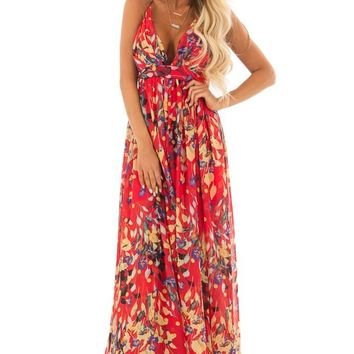 Candy Red Flowy Floral Print Maxi Dress with Plunging V Neck