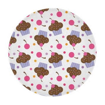 Cupcake and Cherries Round Cutting Board