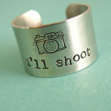 Photographer Ring - I'll shoot - camera ring in aluminum - wide band ring