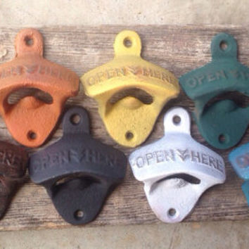 Bottle Cap Opener Vintage Style Beer Pop Soda Man Cave Wall Mounted Cast Iron Wedding Favor Open Here Retro Rustic Finish Distressed Groom