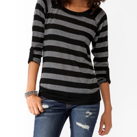 Banded Striped Raglan Top