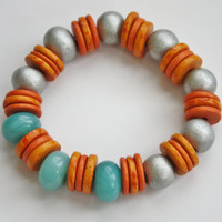 Orange, Teal, & Silver Beaded bracelet / Stretch bracelet / Handmade bracelet / Stacking bracelet/ Bright Color Jewelry