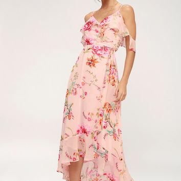 Ella Blush Pink Floral Print Off-the-Shoulder Midi Dress