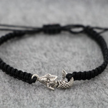 Braid Antiqued Silver Cute Little Mermaid Bracelet, Black Nylon Rope Braid, Personalized Best Bridesmaid Gift, Friendship Graduation Gift