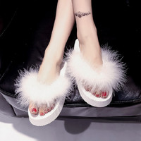 TASTIEN Fur Slides Flip Flops Women Shoes Ostrich Slippers Female Wedges Sandals Summer Platform Plush Brand Fashion High Heels