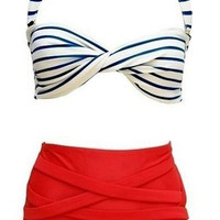 Vintage Vibe Retro High Waisted Bikini Swimsuit Patriotic