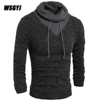 Sweater Pullover Men 2017 New Male Brand Casual Slim Sweaters Men Solid Color Hedging Turtleneck MenS Sweater XXL Y505