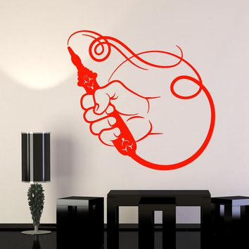 Vinyl Wall Decal Smoking Pipe Hookah Decor Smoke Stickers (2756ig)