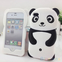 Cute 3D Panda Soft Silicone Protective Back phone Case Cover Skin For iPhone 4 4S 5 5S
