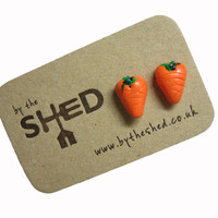By the Shed Carrot Orange Earrings - Fruit - Vegetables - Gardening - Gift - Unique Present - Jewellery - Allotment - Vegetable Plot