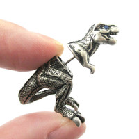 Fake Gauge Earrings: Realistic Tyrannosaurus T-Rex Animal Shaped Faux Plug Stud Earrings in Silver