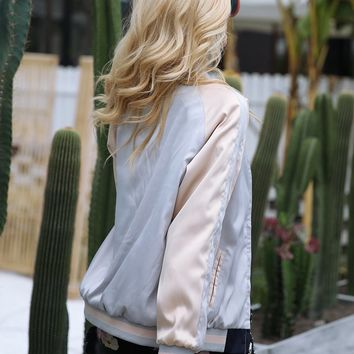 Reversible Embroidered Gold Satin Bomber